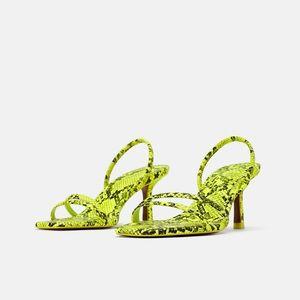 Zara Strap neon snake print sandals